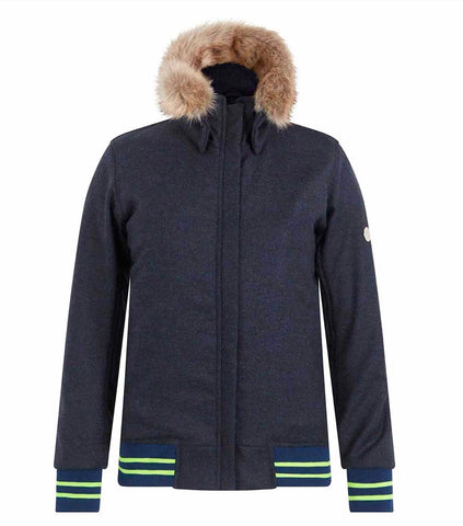 Annabel Brocks- The Bomber- Navy with Navy and Neon Yellow