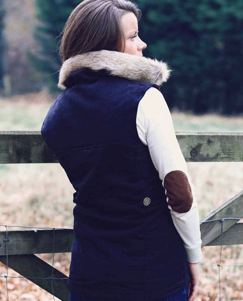 Annabel Brocks Navy Faux Suede Pelham Gilet with Removable Faux Fur Collar