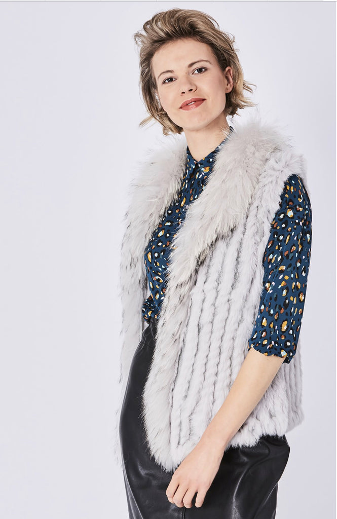 Jayley Ice Grey Fox & Coney Fur Gilet
