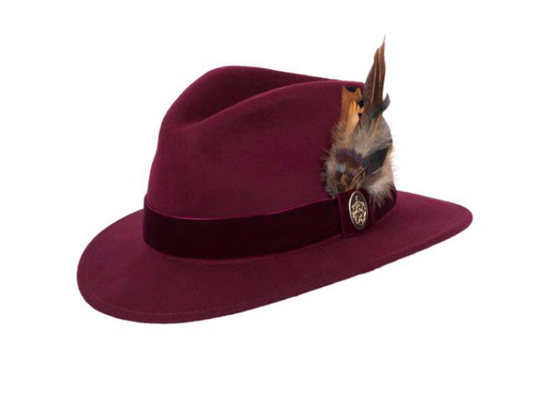 Hicks & Brown Chelsworth Fedora ( Maroon)