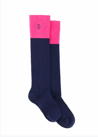 Fairfax & Favor Signature Knee High Socks Pink & Navy