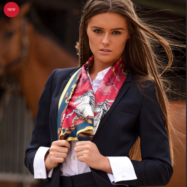 Hold Your Horses Narrow Silk Scarf by Clare Haggas Royal Red & Gold