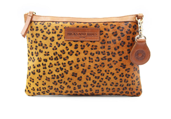 Leopard Print Safari Clutch Bag by Hicks & Hides