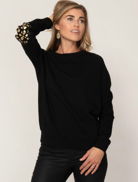 Annabel Brocks Black Sweatshirt with Black and Gold Animal Print Elbow