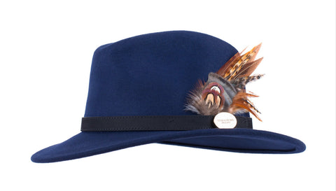 Hicks & Brown The Suffolk Fedora in Navy (Game bird)