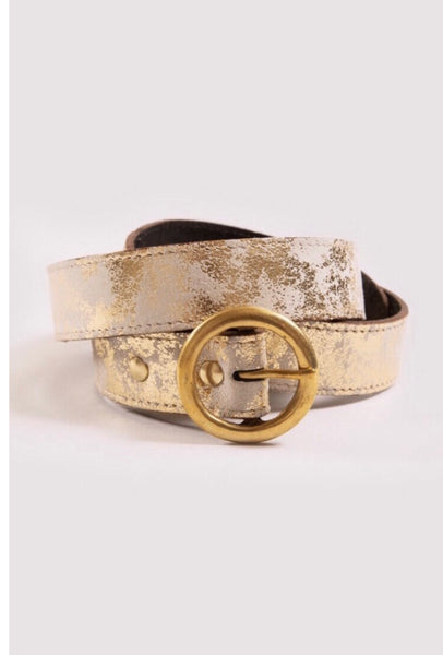 The Skinny Bedara Belt-Metallic Gold Suede