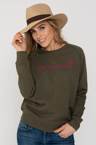 Annabel Brocks Nourish Sweatshirt - Khaki with Passionfruit