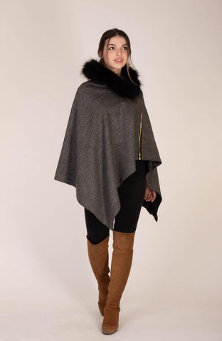 The Victoria Cape - Grey Herringbone by Vantage Atelier