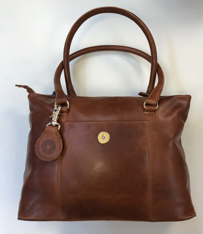 Hicks & Hides Hidcote Cognac Handbag with cartridge detail.
