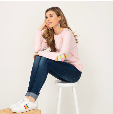 Annabel Brocks Pink Jumper with rainbow elbow patch