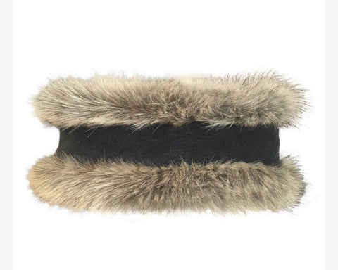 Natural Faux Fur & Natural Tweed Headwarmer
