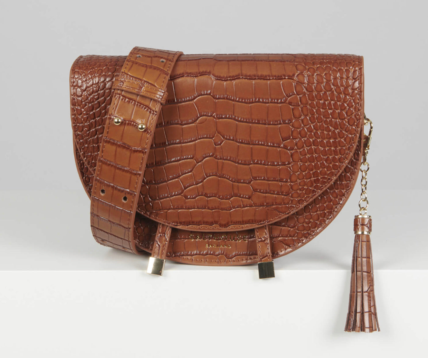 Salthouse Floriana Croc Embrossed Leather Crossbody Bag - Chestnut