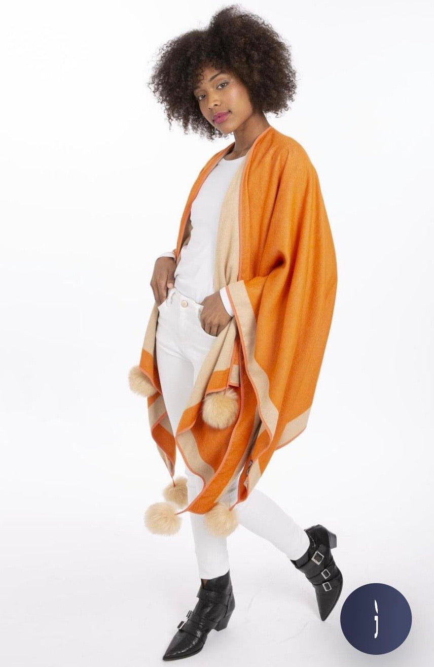 Reversible Cashmere Wrap Cape with Faux Fur Poms - Beige/ Tangerine