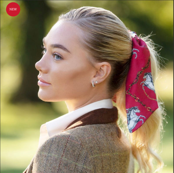 Clare Haggas Hair Scrunchie Equestrian- Red
