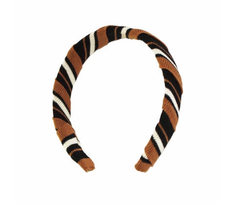 Waring Brooke Hairband - Candy stripe in Tan Hairband