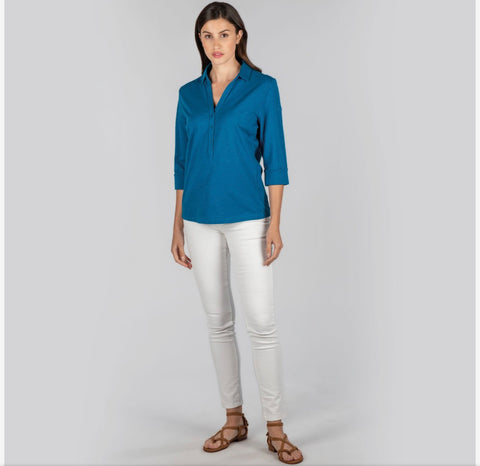 Schoffel Mill Bay Shirt in Mykonos Blue