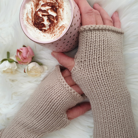 Knit Fingerless Gloves- Australian Merino Wool