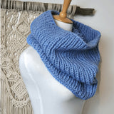 Hand Knit Pure Wool Cowl Scarf blue