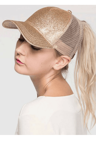 Glitter Ponytail Baseball Cap gold, Glitter High Ponytail Cap