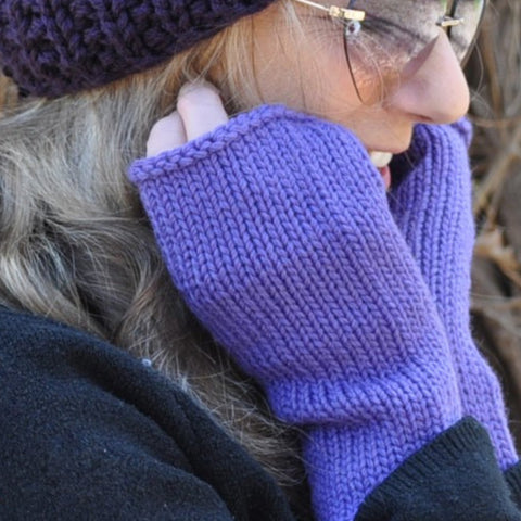 Knit fingerless mitts
