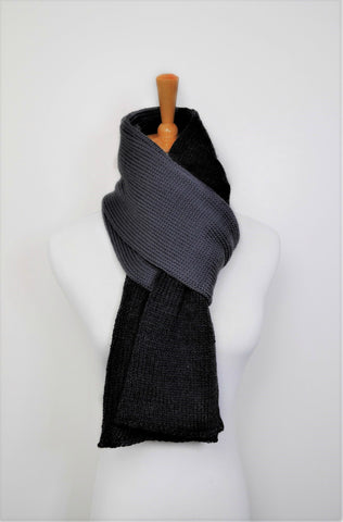 Australian Merino wool scarf- Men / Women charcoal & Grey