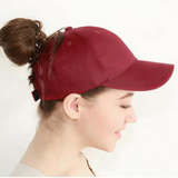 Messy baseball cap wine red