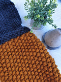 Mustard And Charcoal Chunky Knit Cowl