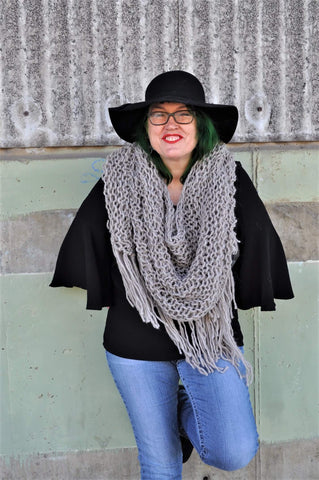 Alpaca triangle shawl  boho triangle scarf
