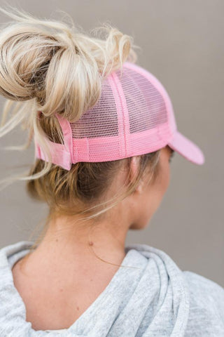 Messy Bun Baseball Hat- Mesh back pink