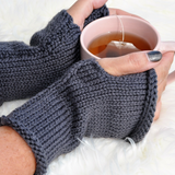 knit fingerless gloves - Australian Merino wool Grey