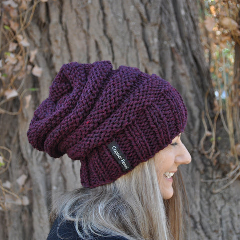 Men and Women's Slouch Beanie claret
