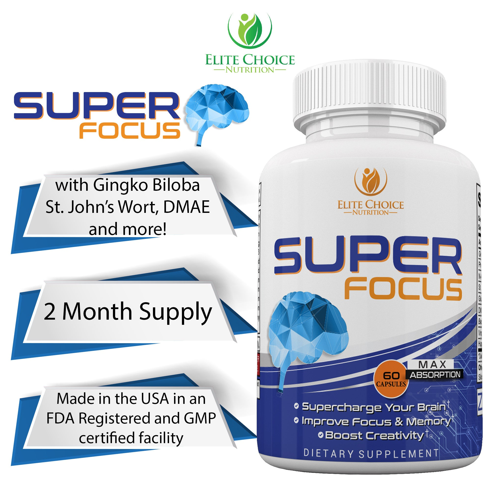 Extra Strength Natural Brain Boost Nootropic Pills