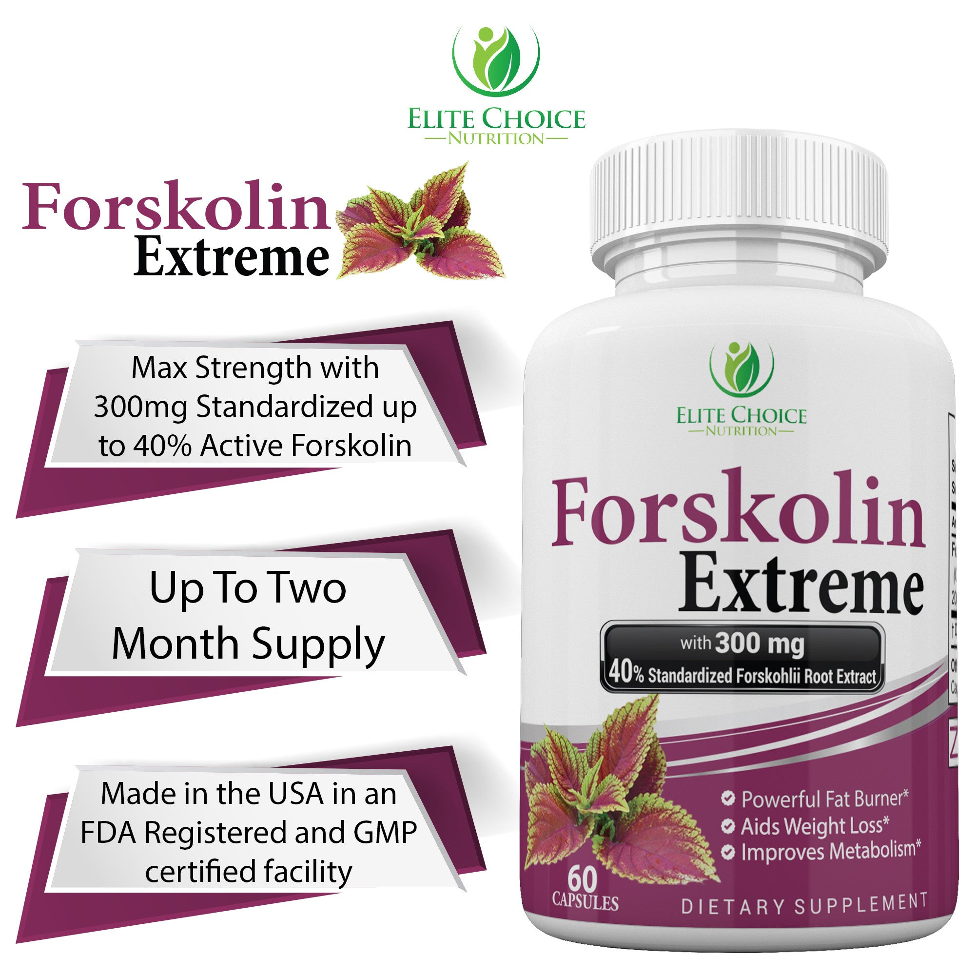 Forskolin Extreme 40 Standardized With 300mg Weight Loss Supplement