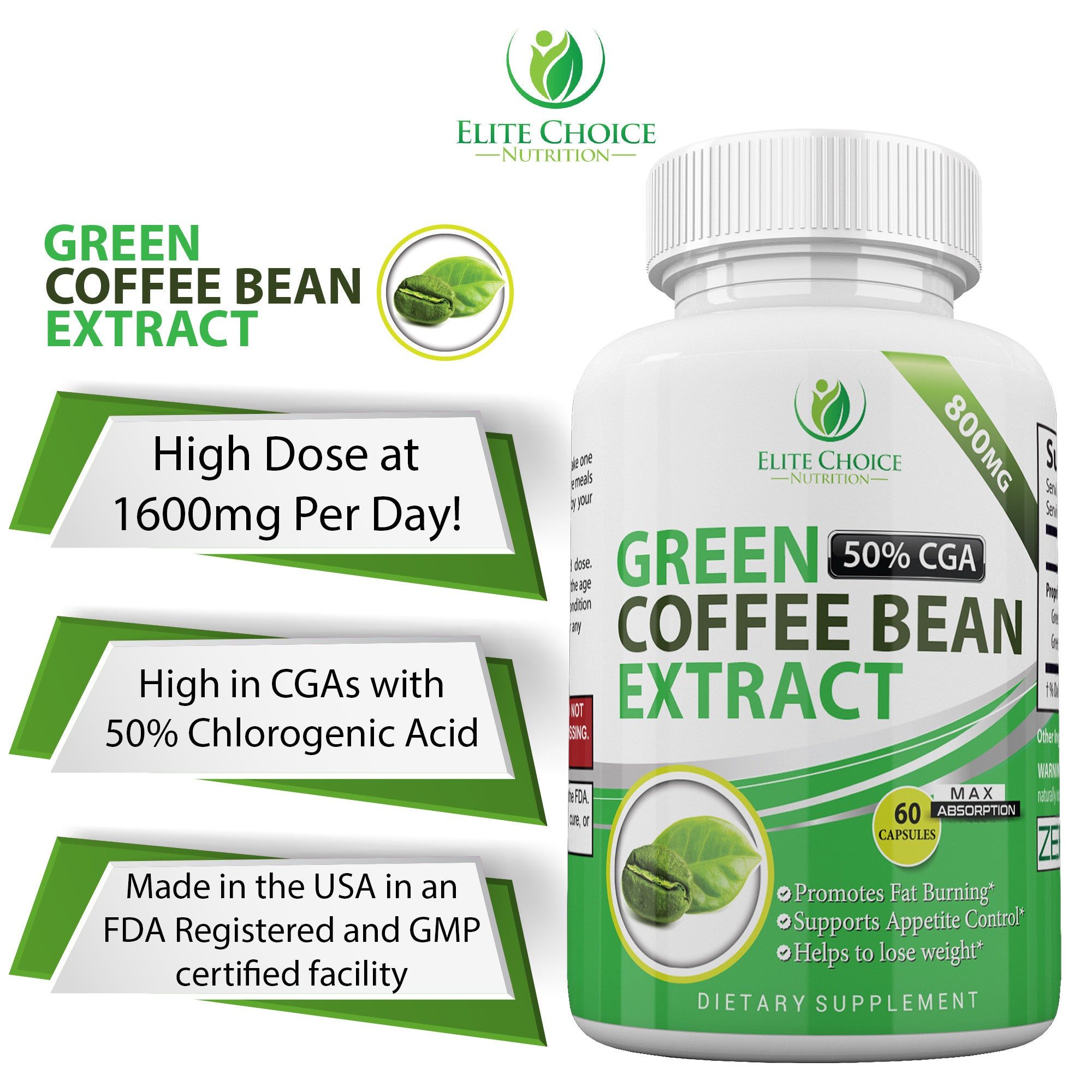 Pure Green Coffee Bean Extract High Dose Weight Loss Detox Supplement
