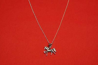 handmade sterling silver necklace with dressage horse - Sterling silver jewelry - GoldSnaffle