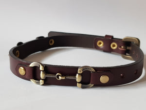 italian leather dog collar brushed gold snaffle bits - collar - GoldSnaffle
