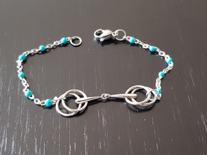 Light blue Double ring Horse bit necklace or bracelet