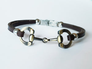 5mm brushed gold italian leather horsebit bracelets