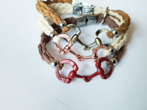 5mm italian leather rose gold horsebit bracelets