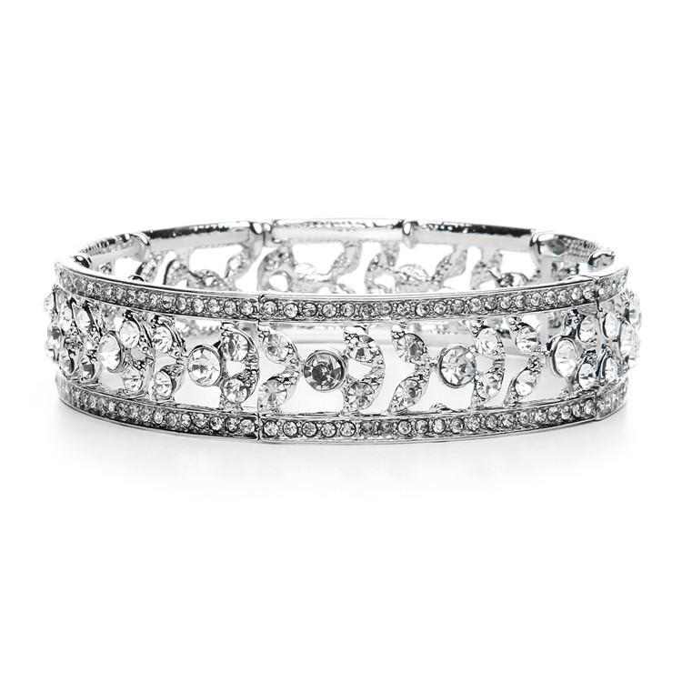 Bride Savvy Etched Crystal Vintage Stretch Bracelet