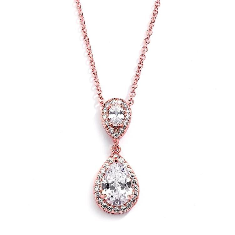 Bride Savvy Jewelry Lustrous Rose Gold Teardrop Pendant