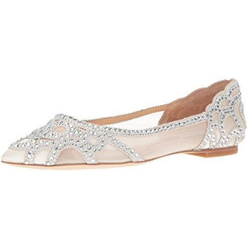 Bride Savvy LLC -Your Bride Box Badgley Mischka Women's Gigi Pointed Toe Flat, Ivory, 7.5 M US