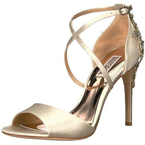 Bride Savvy LLC -Your Bride Box Badgley Mischka Women's Karmen Heeled Sandal, Ivory, 9.5 Medium US