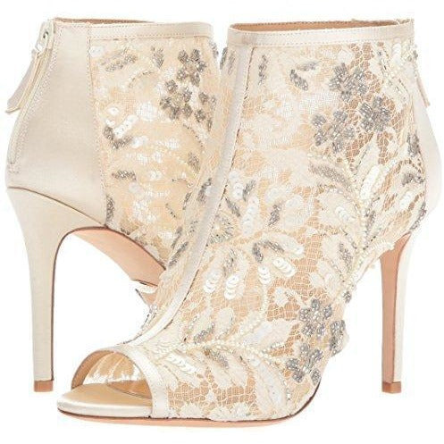 Bride Savvy LLC -Your Bride Box Badgley Mischka Women's Moyra Ankle Boot, Ivory, 7.5 M US