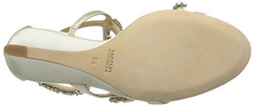 Bride Savvy LLC -Your Bride Box Badgley Mischka Women's Simona Wedge Sandal, Ivory, 6.5 M US