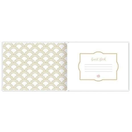 "Bride Savvy LLC -Your Bride Box bloom daily planners Wedding Guest Book (120 pages) Guest Sign-In Book Guest Registry Guestbook - White Cover with Gold Foil and Page Marker Hardbound 7"" x 9"""
