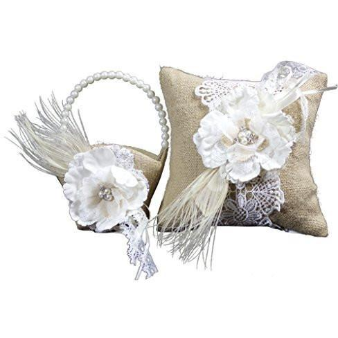 Bride Savvy LLC -Your Bride Box Bundle of Lillian Rose Ring Bearer Pillow and Flower Girl Basket (Burlap)