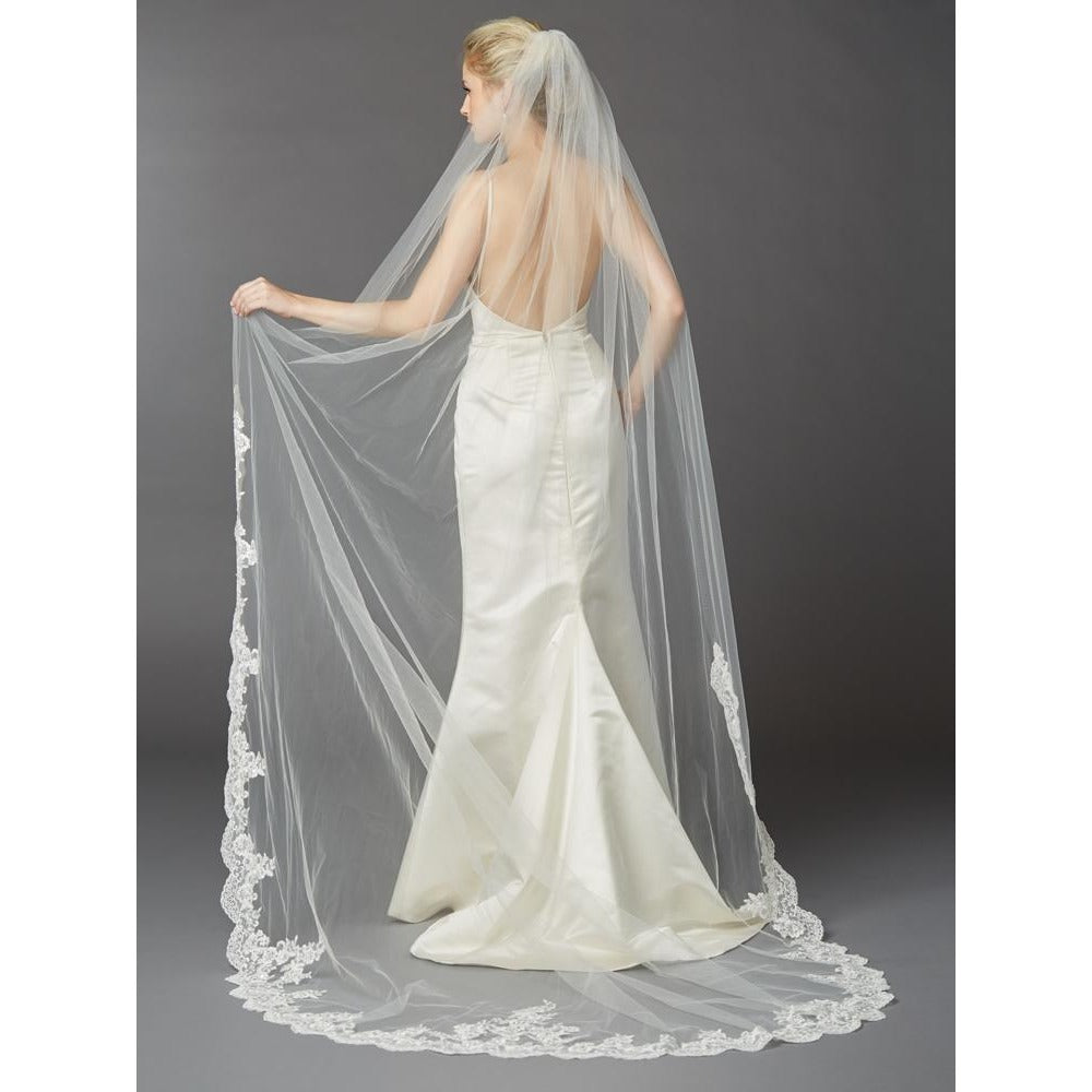 Bride Savvy LLC -Your Bride Box Cathedral Mantilla Wedding Veil with Dramatic Beaded Lace Edge