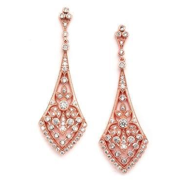 Bride Savvy LLC -Your Bride Box Earrings Antique Rose Gold Drop Earrings