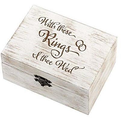 "Bride Savvy LLC -Your Bride Box Lillian Rose RA510 IT 6.5""X4.75"" Rustic ""I Thee Wed"" Wedding Ring & Vow Box"
